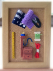 バルサで作るミニオブジェ『おばあちゃんの針道具』