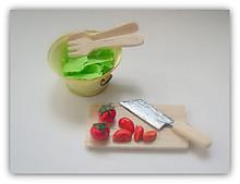 ミニチュアサラダ(レタス、トマト、コランダー、ストレーナー、包丁、まな板)