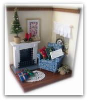 ミニチュア クリスマスツリーのある居間