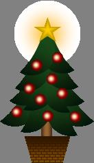 Excelで作成したイラスト「クリスマスツリー(png)」